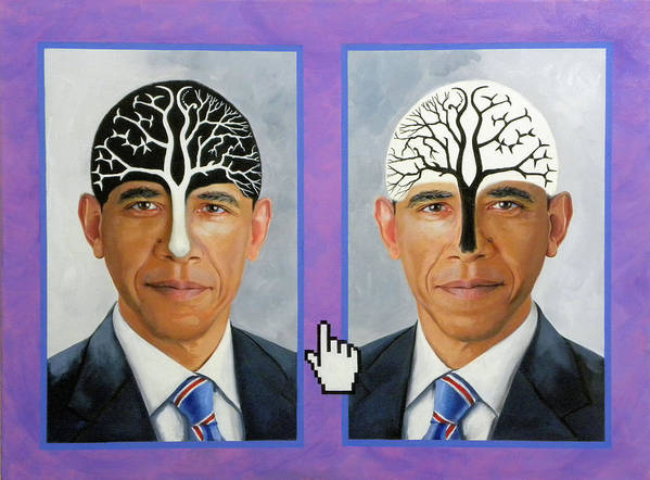 President Barack Obama Poster featuring the painting Obama Trees Of Knowledge by Richard Barone