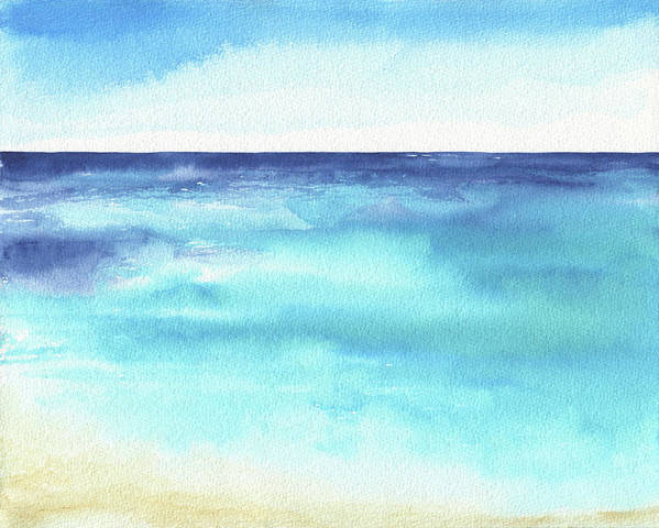 Abstract Poster featuring the painting Ocean Watercolor Hand Painting Illustration. by Katya Ulitina