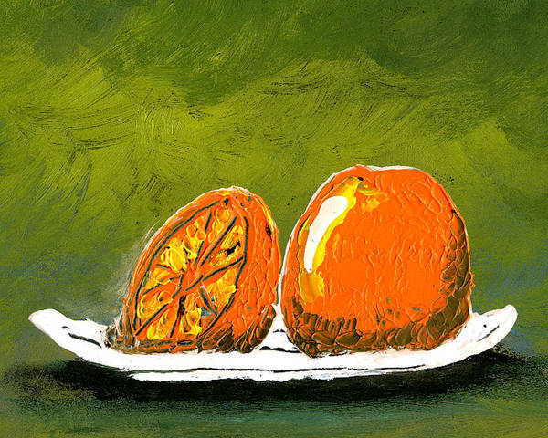 Orange Poster featuring the painting 2 Oranges On A White Plate by Gary Henderson