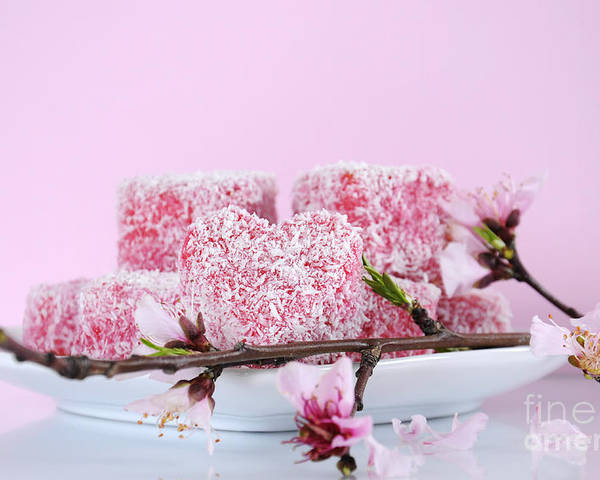 Lamingtons Poster featuring the photograph Pink Heart Shape Small Lamington Cakes by Milleflore Images