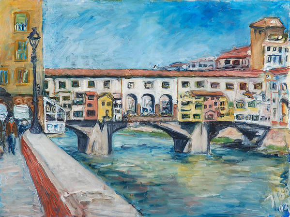 Florence Poster featuring the painting PonteVecchio by Joan De Bot