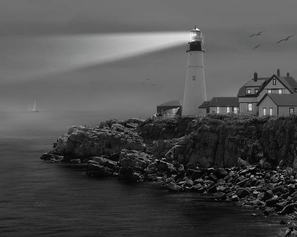 Portland Lighthouse Poster featuring the photograph Portland Head Lighthouse by Mike McGlothlen