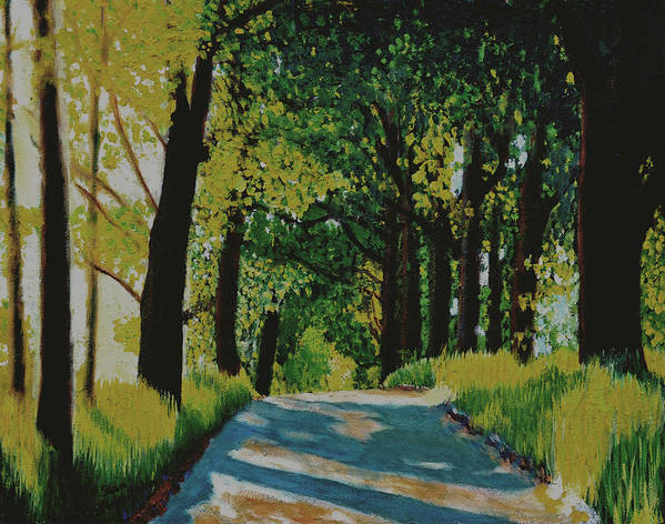 Road Poster featuring the painting Road and Trees by Stan Hamilton