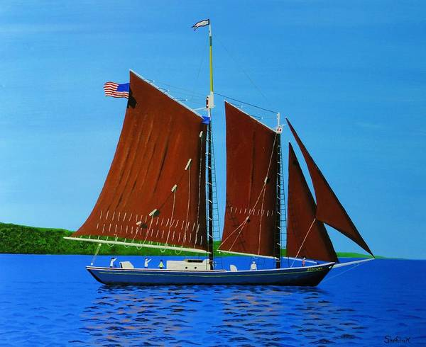 Landscape Poster featuring the painting Roseway On Lake Superior by Dan Shefchik