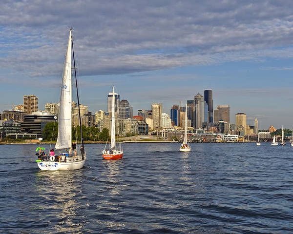 Seattle Poster featuring the photograph Sailing To Seattle by Tom Dowd