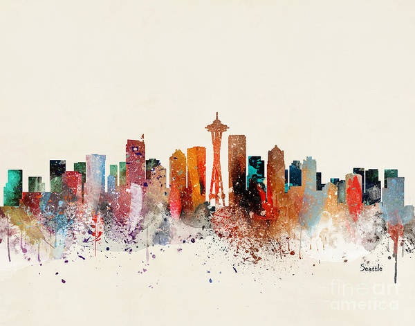 Seattle Cityscape Poster featuring the painting Seattle Skyline by Bri Buckley