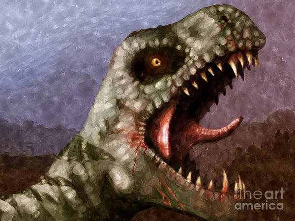 Dinosaur Poster featuring the painting T-rex by Pixel Chimp
