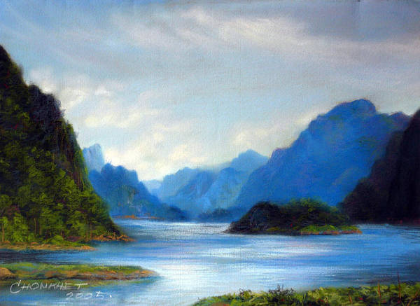 Pastel Poster featuring the painting Thai Landscape by Chonkhet Phanwichien