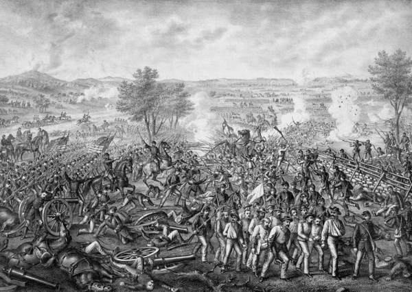 Civil War Poster featuring the mixed media The Battle Of Gettysburg by War Is Hell Store