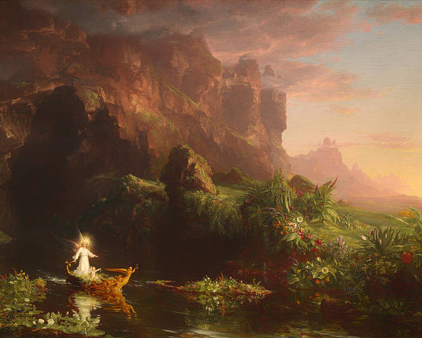 Painting Poster featuring the painting The Voyage Of Life - Childhood by Mountain Dreams