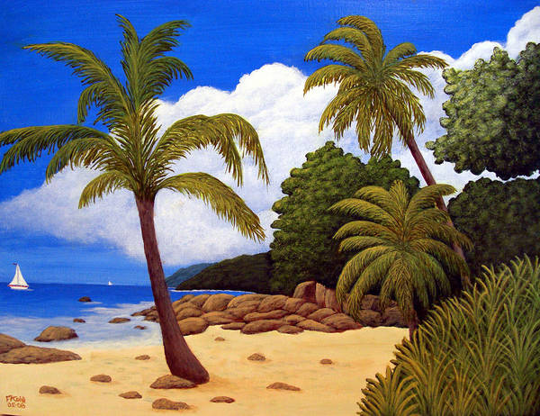 Landscape Art Poster featuring the painting Tropical Island Beach by Frederic Kohli
