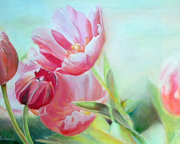 Floral Painting Poster featuring the painting Tulipes by Muriel Dolemieux