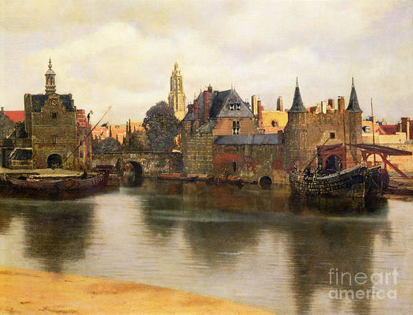 View Poster featuring the painting View Of Delft by Jan Vermeer