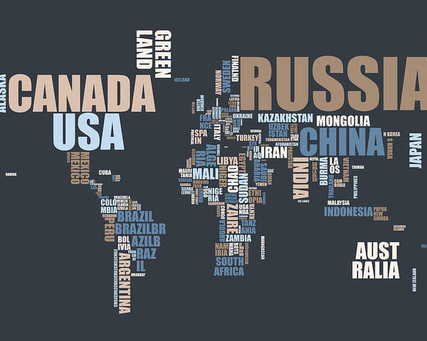 world map poster featuring the digital art world map in words by michael tompsett