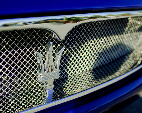 2002 Maserati Poster featuring the photograph 2002 Maserati Hood Ornament by Jill Reger