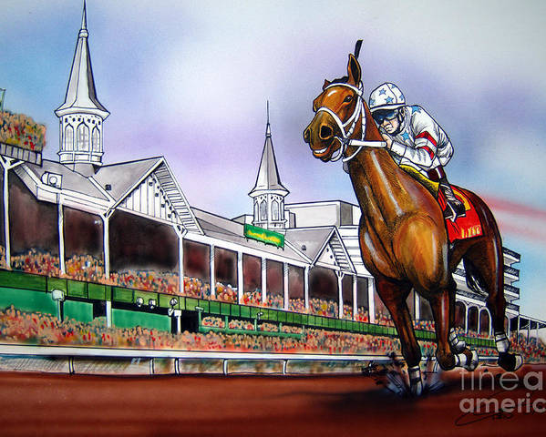 Kentucky Derby Poster featuring the painting 2008 Kentucky Derby Winner Big Brown by Dave Olsen