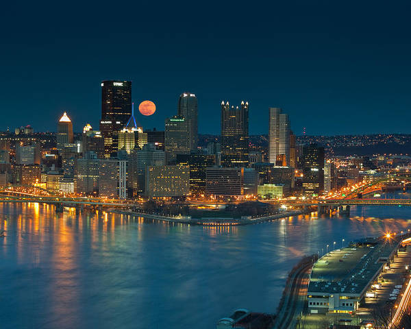 Pittsburgh Poster featuring the photograph 2011 Supermoon Over Pittsburgh by Jennifer Grover