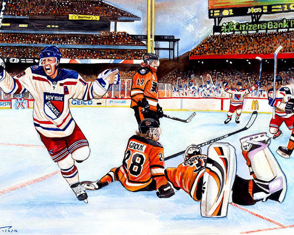 New York Rangers Poster featuring the painting 2012 Bridgestone-nhl Winter Classic by Dave Olsen