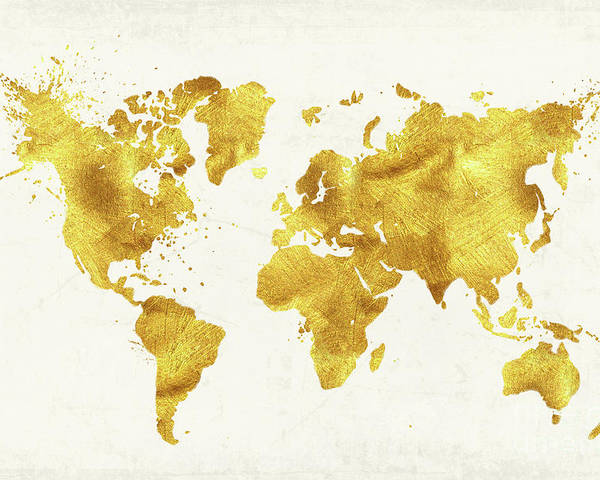 Gold World Map Poster.24 Karat World Gold World Map Poster By Tina Lavoie