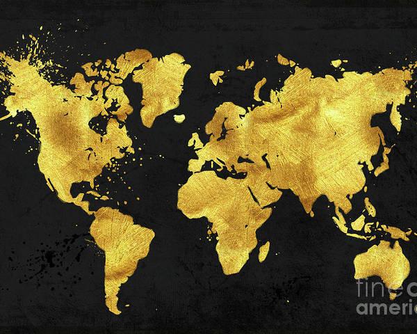Black World Map Poster.24 Karat World In Black Gold Metal World Map Poster By Tina Lavoie