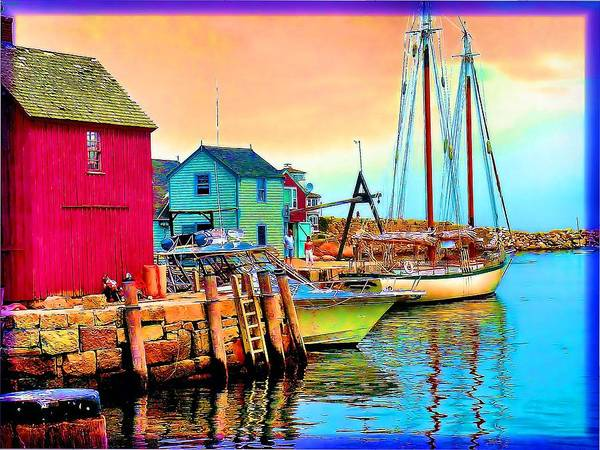 Poster featuring the painting 2449  Rockport by Ed Immar