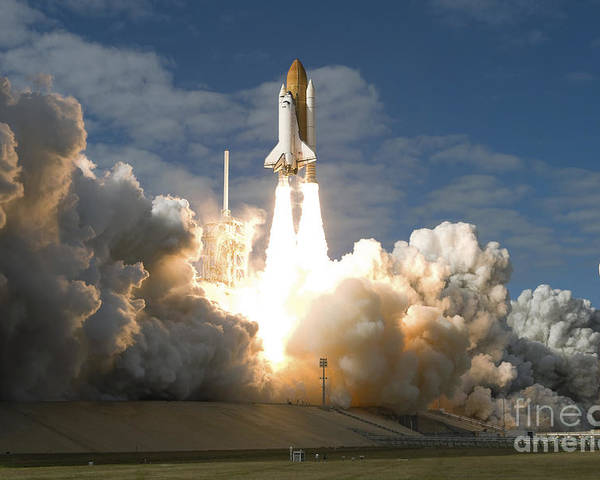 Taking Off Poster featuring the photograph Space Shuttle Atlantis Lifts by Stocktrek Images