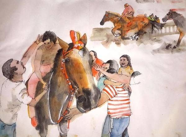 Il Palio. Siena.italy. Horserace.medieval Poster featuring the painting Il Palio Album by Debbi Saccomanno Chan