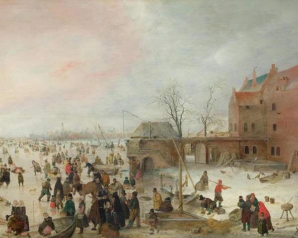 Scenery Poster featuring the painting A Scene On The Ice Near A Town by Hendrick Avercamp