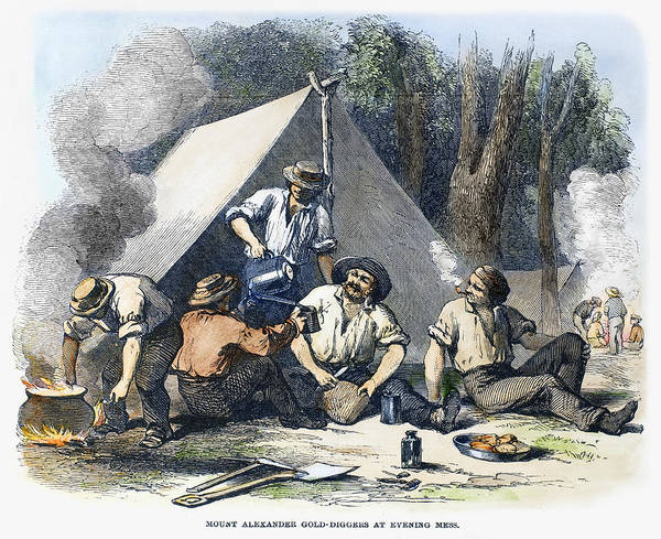 1856 Melbourne Gold Rush Vintage Painting Art Australia Print Poster Framed