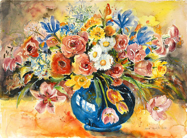 Still Life Poster featuring the painting Blue Vase by Ingrid Dohm