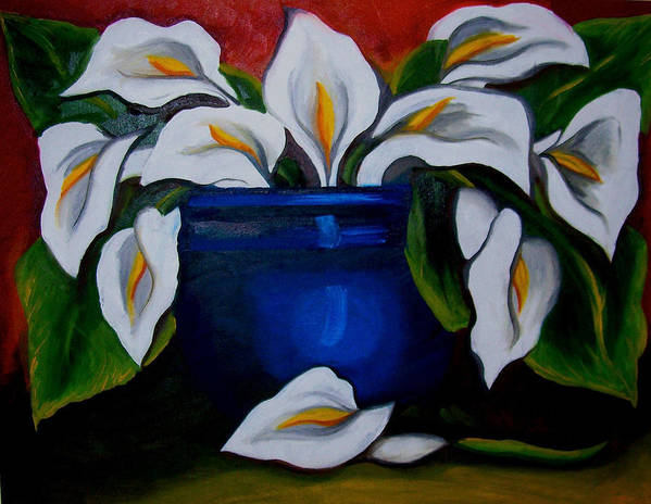 Calla Lilies In Blue Pot Poster featuring the painting Calla Lilies by Misty VanPool