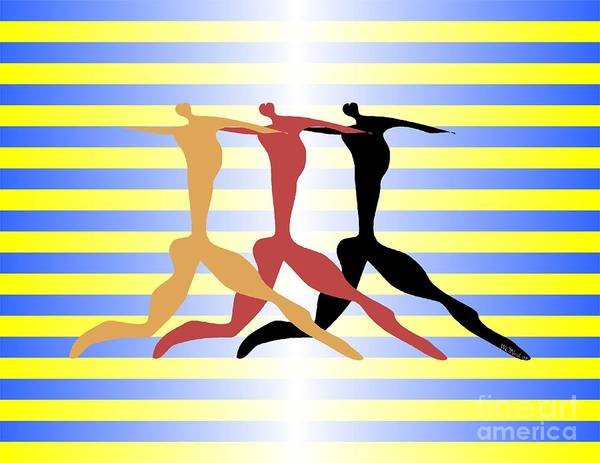 Dance Poster featuring the digital art 3 Dancers by Walter Neal