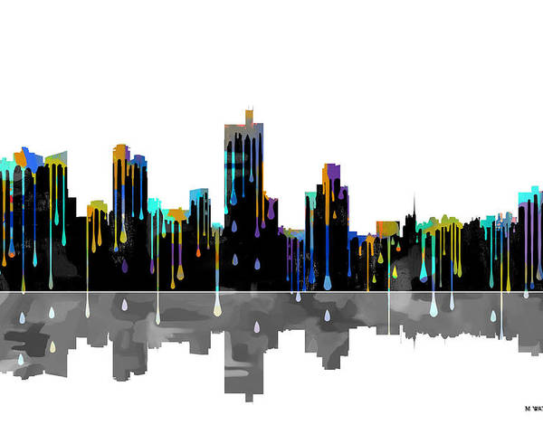 Fort Worth Texas Skyline Poster featuring the digital art Fort Worth Texas Skyline by Marlene Watson