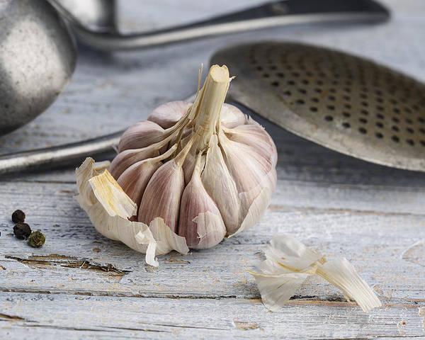 Garlic Poster featuring the photograph Garlic by Nailia Schwarz