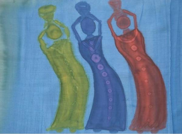 Silk Poster featuring the painting 3 Ladies by Christine Davis
