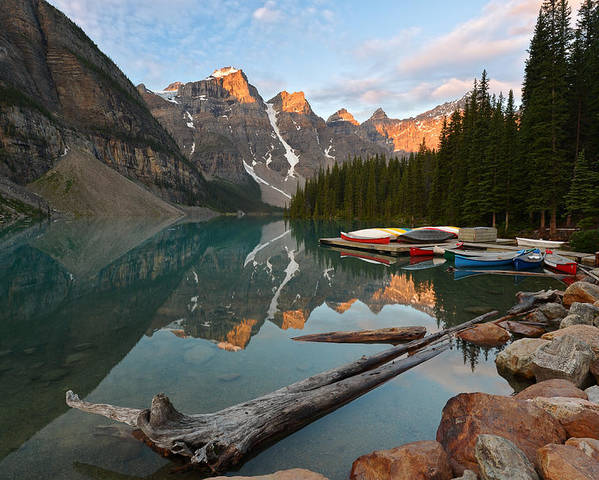 Canada Poster featuring the photograph Moraine Lake by Bernard Chen