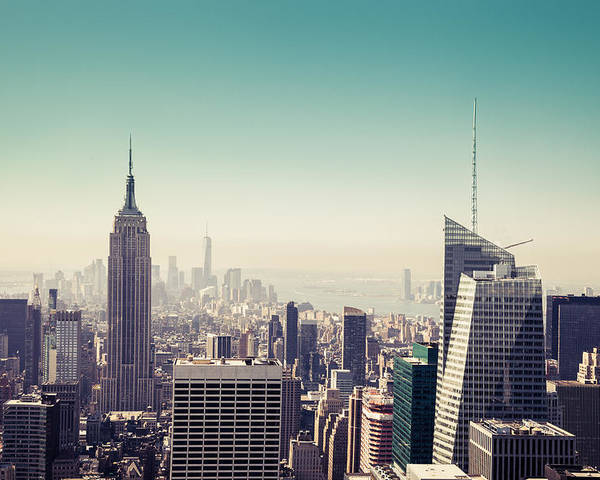 New York Poster featuring the photograph New York Manhattan Skyline At Sunset by Leonardo Patrizi
