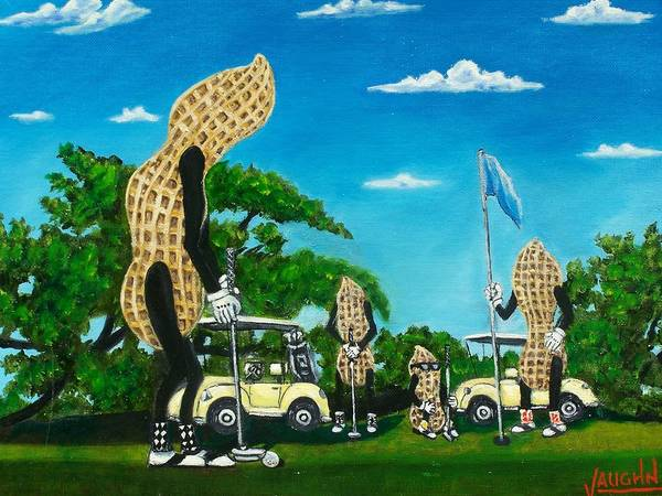 Landscape Poster featuring the painting Nutz Bout Golf by Charles Vaughn