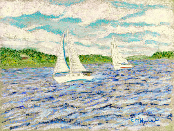 Sailboats Poster featuring the painting Sailing On Casco Bay by Collette Hurst