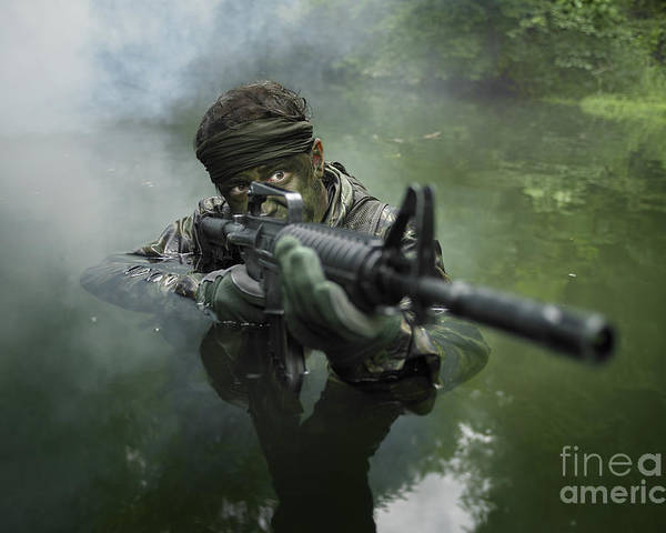 Special Operations Forces Poster featuring the photograph Special Operations Forces Soldier by Tom Weber