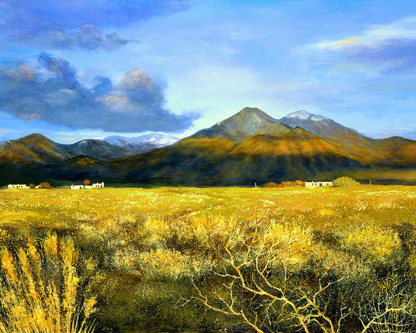 Landscape Poster featuring the painting Taos Mountain by Brooke Lyman