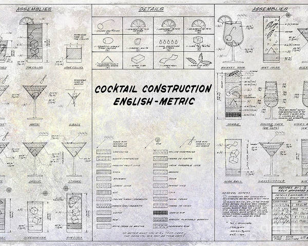 The cocktail construction blueprint poster by jon neidert cocktail construction poster featuring the photograph the cocktail construction blueprint by jon neidert malvernweather Image collections
