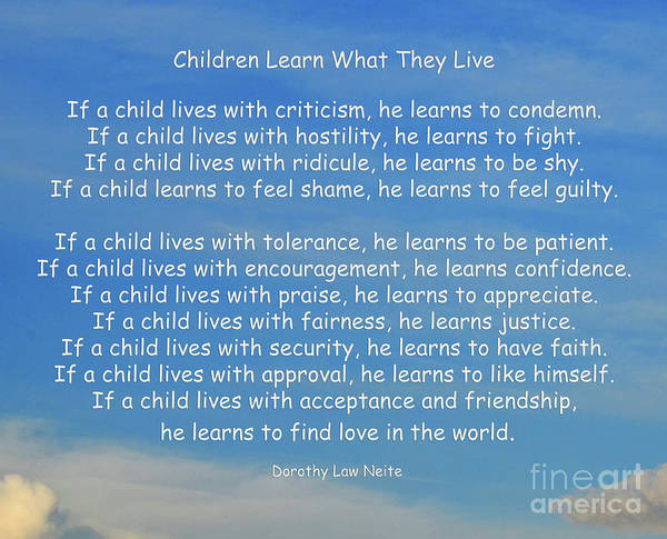 Children Poster featuring the photograph 33- Children Learn What They Live by Joseph Keane