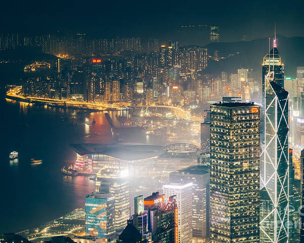 Hong Kong Poster featuring the photograph Hong Kong Victoria Harbour by Tuimages