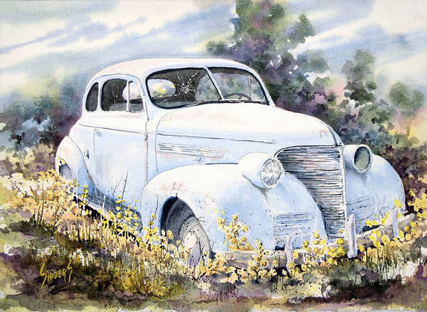 Automobile Poster featuring the painting 39 Chevy by Sam Sidders