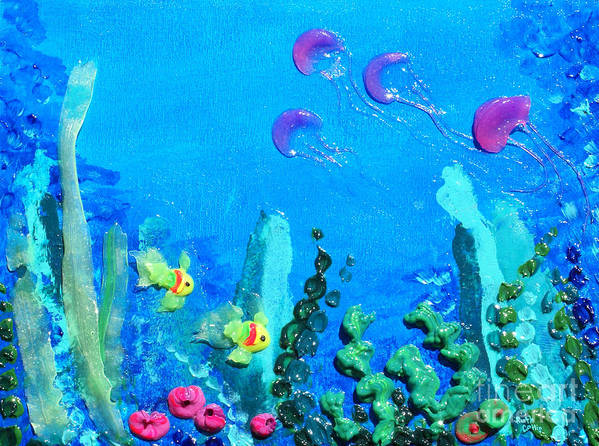 Thick Paint Poster featuring the painting 3d Under The Sea by Ruth Collis