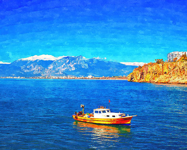 Painting Poster featuring the painting A Digitally Constructed Painting Of A Small Fishing Boat With Snow Covered Mountains In Antalya Turkey by Ken Biggs