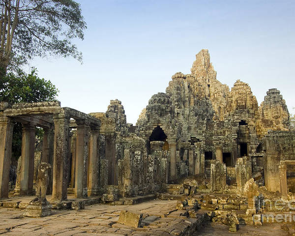 Ancient Poster featuring the photograph Bayon Temple by MotHaiBaPhoto Prints