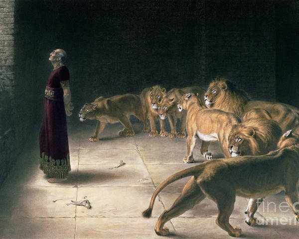 Daniel In The Lions Den Poster featuring the painting Daniel In The Lions Den by Briton Riviere