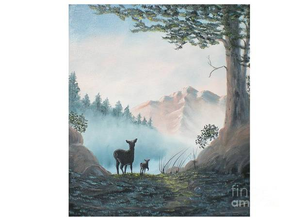 Mother And Fawn Deer In The Misty Mountain Poster featuring the painting Deer In The Mist by Hal Newhouser